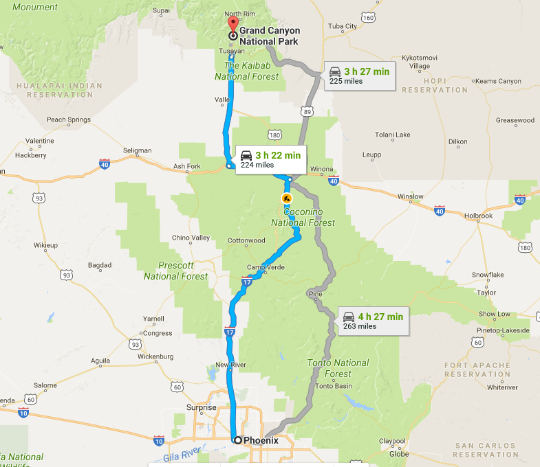 phoenix grand canyon route